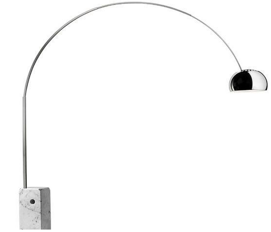 Arco Floor Lamp - LED or Incandescent Dimmable with Marble Base By Castiglioni