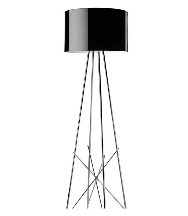 Ray Floor Lamp Dimmable in Glossy Black, White or Grey By Rodolfo Dordoni