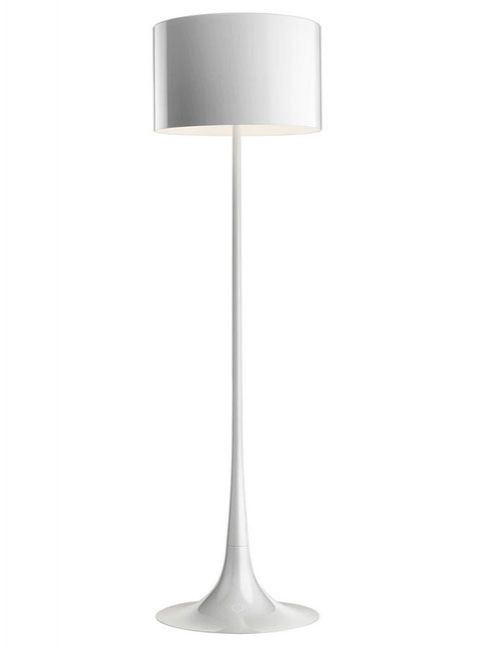 Spun Light Floor Lamp Dimmable in Shiny White Mud and Black