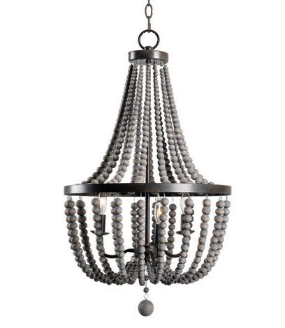 Denver Dark Wood Chandelier in Bronze